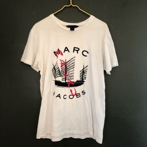 [Marc by Marc Jacobs] White Printed Shirt - Large